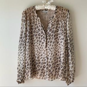 Joie Cordell Leopard Print Smocked Silk Blouse L